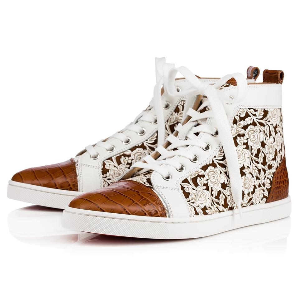 meilleur service 23178 ada58 Christian Louboutin White Bip Bip Calf Brown Croc Flat High Top Sneakers  Size EU 39.5 (Approx. US 9.5) Regular (M, B) 26% off retail