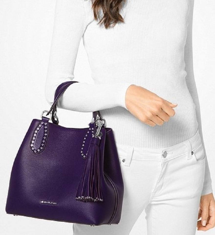 c25f4903db7a Michael Kors Mk Brooklyn Leather Silver Hardware Tote in Iris Image 5.  123456
