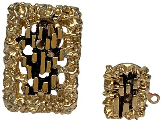 Dior VINTAGE CHRISTIAN DIOR CUFFLINK AND PIN GOLD NUGGET STYLE