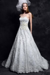 Eden Ivory Satin/Lace Bl087 Modern Wedding Dress Size 14 (L)