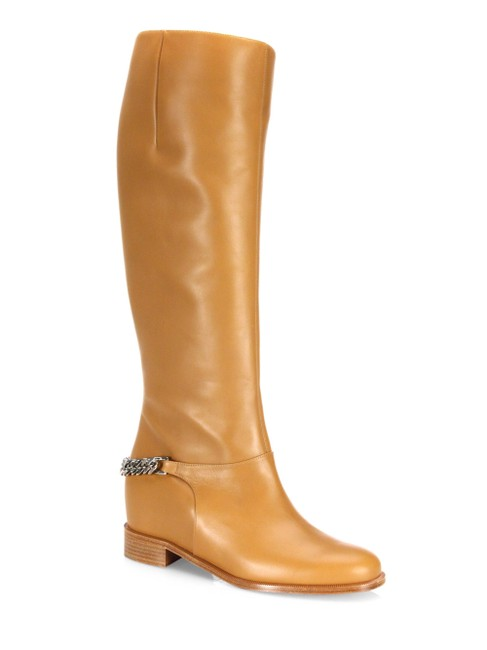 Christian Louboutin Tan Cate Laiton Leather Silver Chain Knee High Boots/Booties Size EU 35 (Approx. US 5) Regular (M, B) Christian Louboutin Tan Cate Laiton Leather Silver Chain Knee High Boots/Booties Size EU 35 (Approx. US 5) Regular (M, B) Image 1
