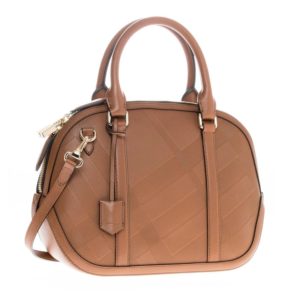 e096506cb43b Burberry Women s Small Soft Check Orchard Bowling Tan Leather Satchel