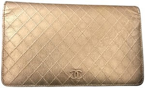 Chanel Authentic Chanel CC Logo quilted long Bifold wallet