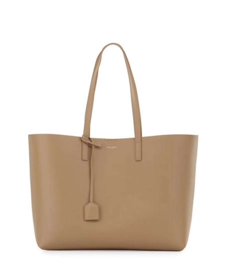 a332c6a7c6c Saint Laurent Dark Beige Leather YSL Large Shopping Tote - Tradesy