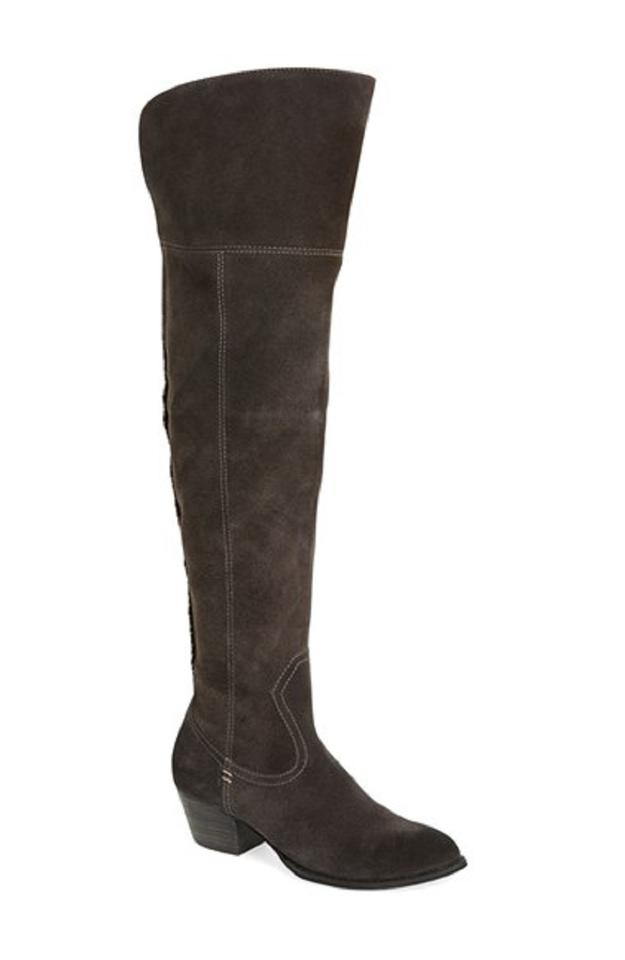 c65b60c811a Dolce Vita Suede Leather Over The Knee Western Grey Boots Image 0 ...