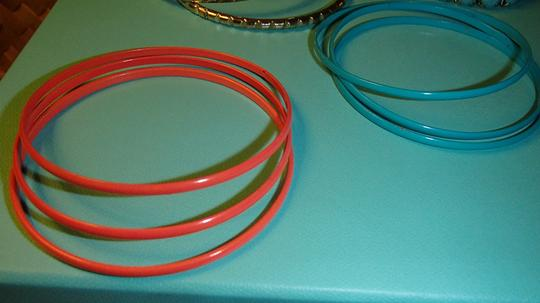 Other 13 Bangle Bracelets orange blue and gold. Costume Jewelry