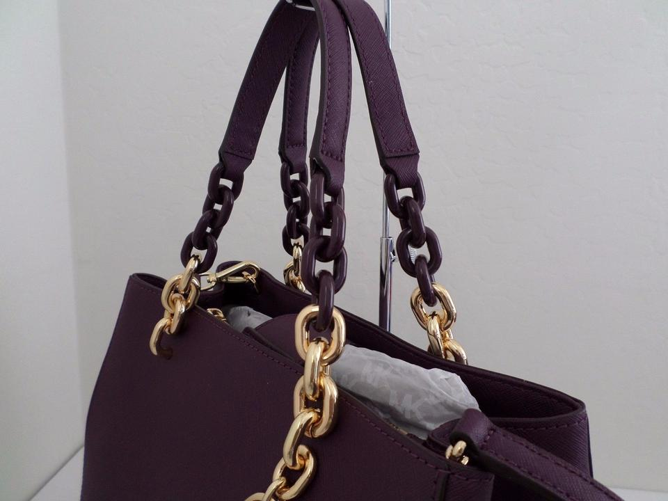 bf787b51ed9784 Michael Kors Medium Cynthia Shoulder 30s7tcys2l Satchel in Damson Image 7.  12345678