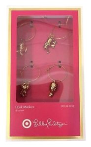 Lilly Pulitzer 4 Gold Plated Wine Charms- Sold Out Target Line