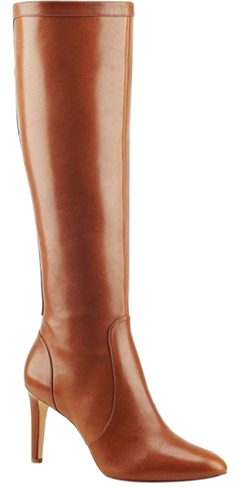 4e41a3a413df Nine West Cognac Holdtight Glossy Leather High Heel Boots Booties ...