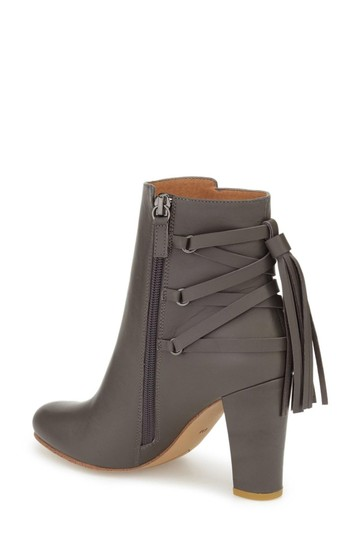 Halogen Leather Tassels Ankle Grey Boots