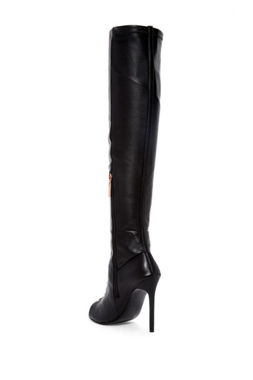 Ivy Kirzhner Leather Over The Knee Open Toe Lace Up Black Boots