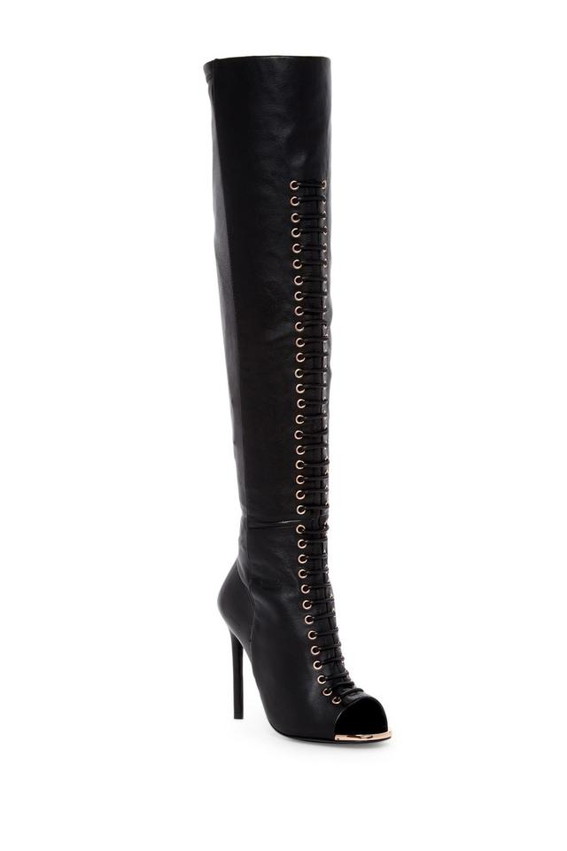 ivy kirzhner black crane stretch calf leather fitted peep toe over