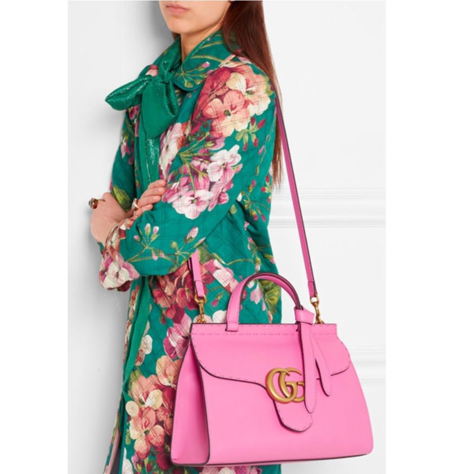 Gucci Marmont Top Handle Tropical Pink Leather Satchel - Tradesy
