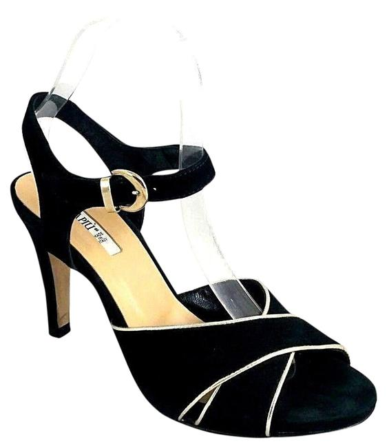 Black Criss Cross Suede Leather Gold 38 Ankle Sandals Size US 8 Regular (M, B) Black Criss Cross Suede Leather Gold 38 Ankle Sandals Size US 8 Regular (M, B) Image 1