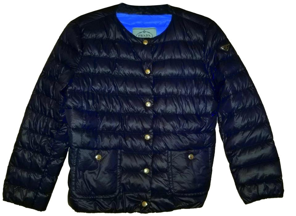 4880b39e00f Prada Navy Blue Quilted Lightweight Puffer Eggshell Jacket with Down  Feathers Activewear