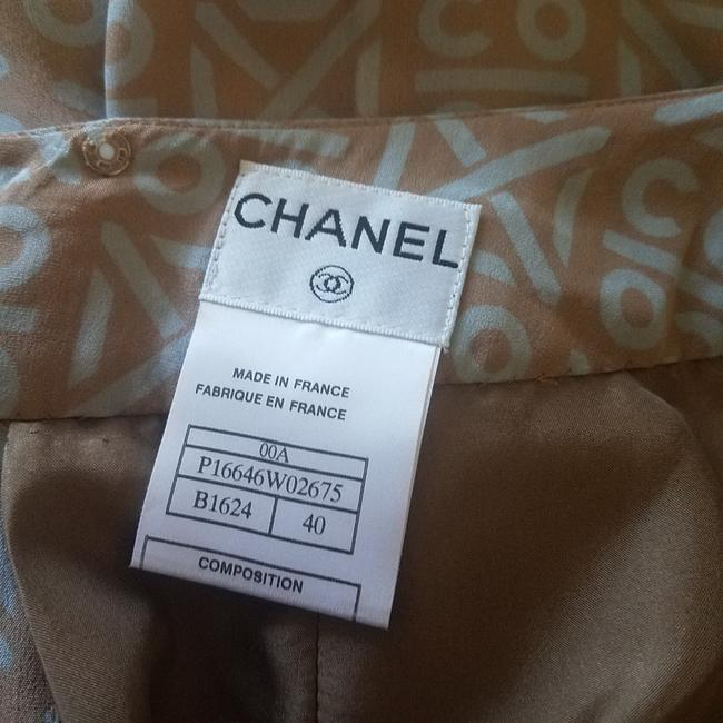 Chanel Pleated Coco Monogram Silk Interlocking Cc Skirt Beige, Blue