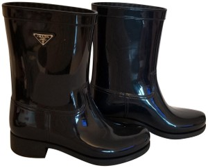 Prada Rainboots Galoshes Rubber Spring Blue Boots