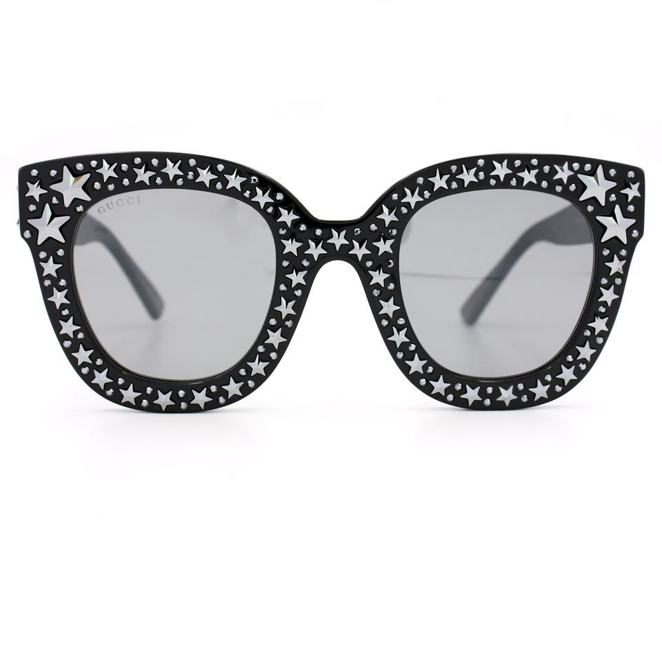 377e59e969 Gucci GUCCI GG0116S 001 Black Cat Eye Acetate Sunglasses with Stars NEW!