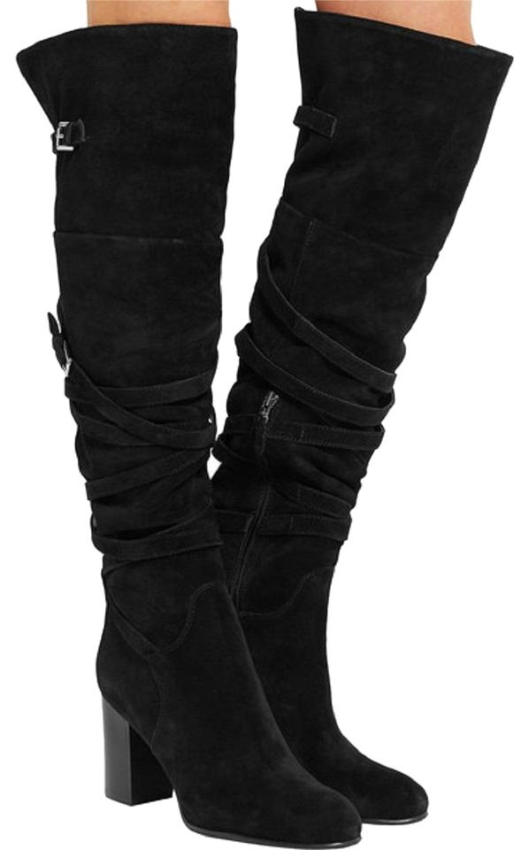 ffa92b0de30 Sam Edelman Black Sable Belt Strap Velour Suede Over The Knee Boots ...