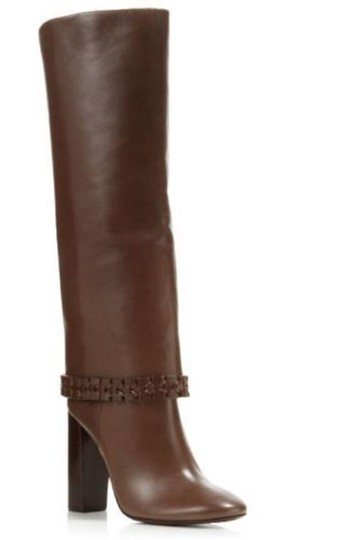 Tory Burch Leather Braided Tall Brown Boots