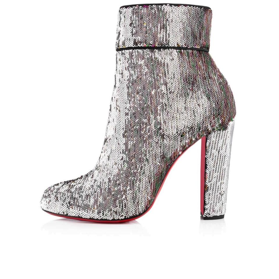 035e6ab68083 Christian Louboutin Silver Moulamax 100 Sequin Glitter Heel Boots Booties