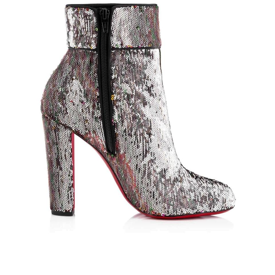 df4cd60bfd4d Christian Louboutin Silver Moulamax 100 Sequin Glitter Heel Boots Booties  Size EU 35.5 (Approx. US 5.5) Regular (M