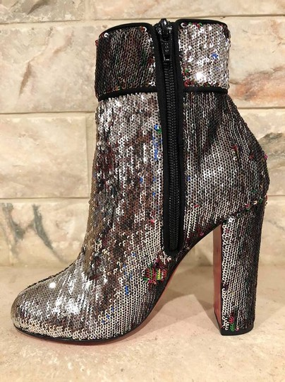 Christian Louboutin Moulamax Stiletto Ankle Sequin silver Boots