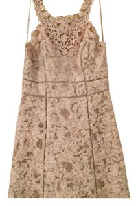 Marchesa Notte Chiffon Metallic Sequin Embroidered Beaded Dress