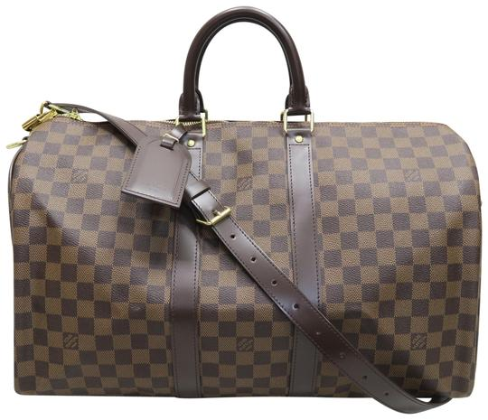 Preload https://img-static.tradesy.com/item/22705728/louis-vuitton-keepall-damier-ebene-bandouliere-45-brown-canvas-satchel-0-1-540-540.jpg