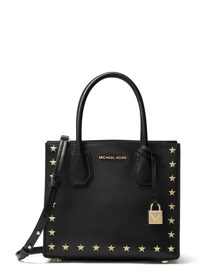 5ce63115424c Michael Kors Grommet Leather Black Gold 191262359460 Mini Star Studs Tote  in Black Image 0 ...