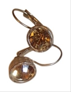 Other Sparkly Amber Drop Earrings with bronze/gold trim. Costume Jewelry