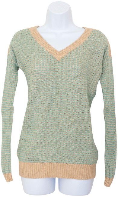 Preload https://img-static.tradesy.com/item/22705926/green-beige-v-neck-greenbrown-knit-sweaterpullover-size-4-s-0-1-650-650.jpg