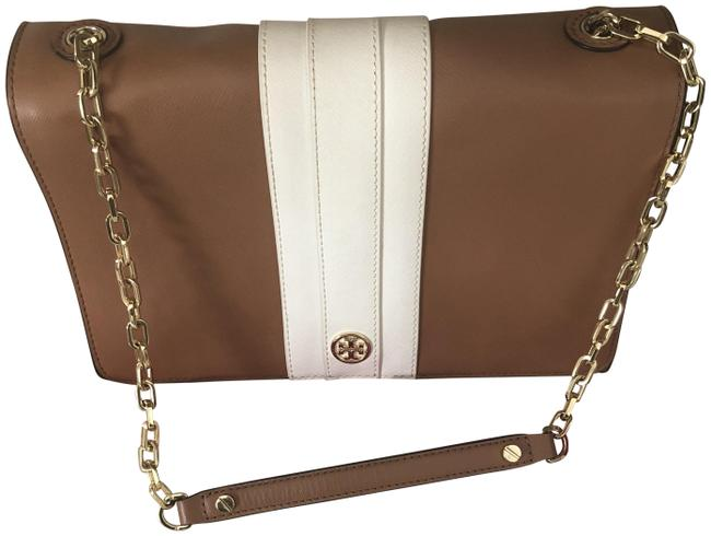 Tory Burch Robinson Tan and White Leather Shoulder Bag Tory Burch Robinson Tan and White Leather Shoulder Bag Image 1