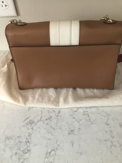 Tory Burch Striped Leather Chain Gold Shoulder Bag