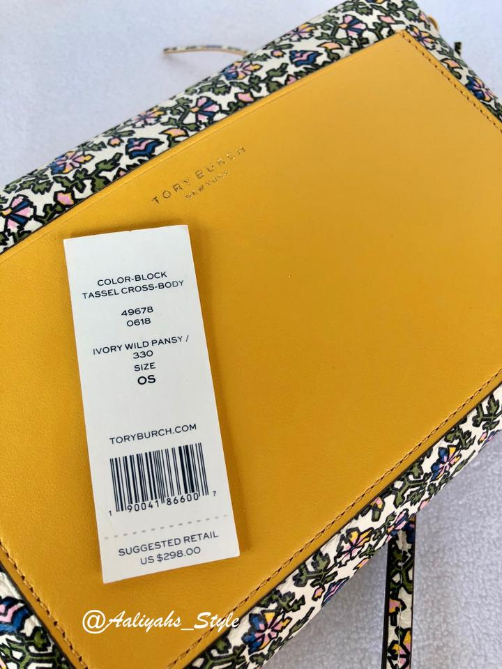 4a4046e2283038 Tory Burch Color-block Tassel Ivory Wild Pansy Gold Leather Cross ...