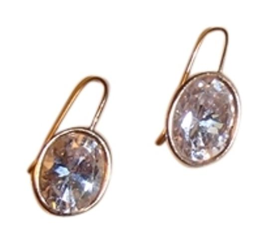 Other CZ Diamond Drop Earrings with gold trim. Costume Jewelry
