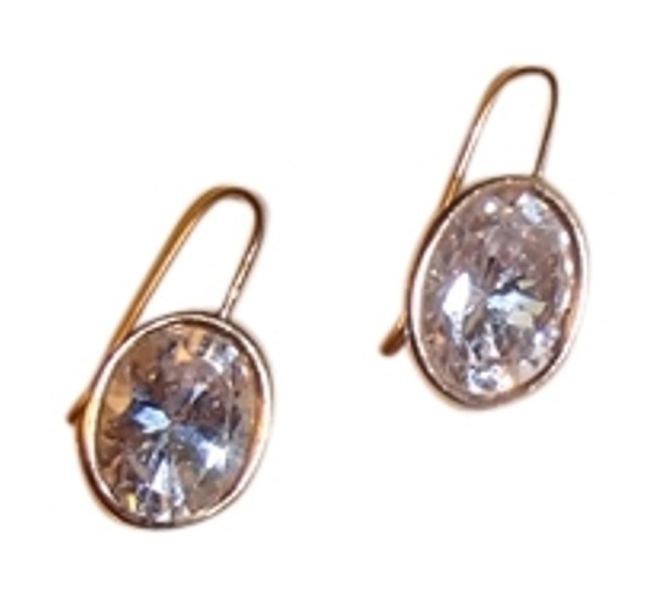 Other Cz Diamond Drop Earrings With Gold Trim Costume Jewelry