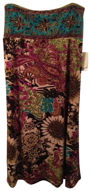 ECI New York Floral Knit Maxi Skirt Multicolor