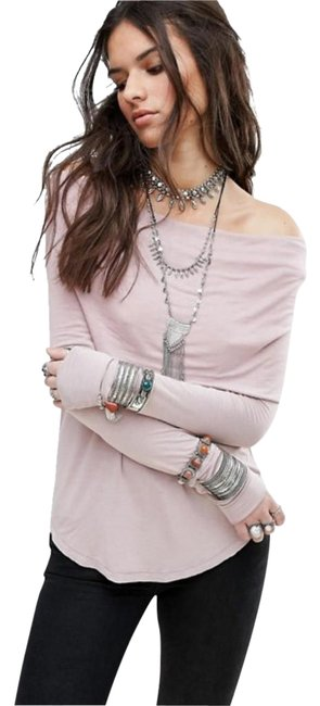 Free People Raw Edges Soft + Stretchy Cozy Cowl Neck Relaxed Feel Drapey + Long Sleeve Top Lavender