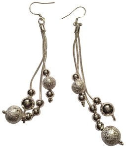 Queenesthershop Ladies 925 Tiny Ball Dangling Sterling Silver Earrings