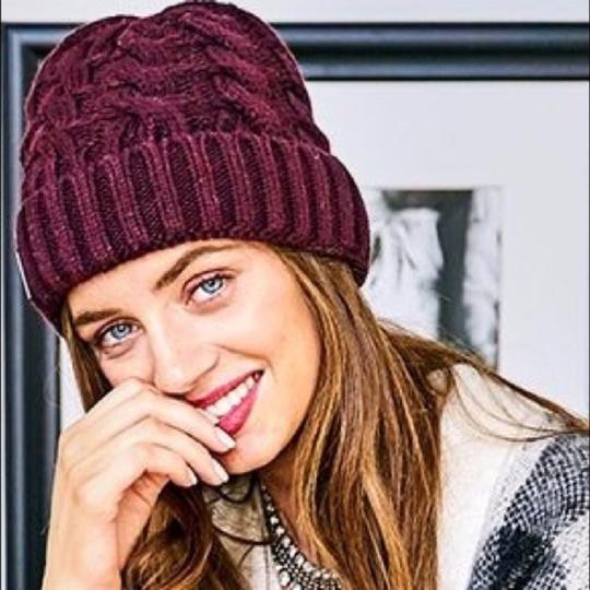 Soia & Kyo Soia & Kyo Cable Knit Beanie in Merlot