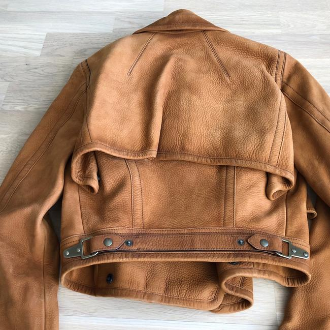Leather Cropped Burberry Jacket warm brown caramel Leather Jacket