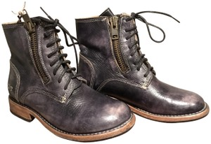 Bed|Stü Combat Leather Zippers Laces Black Driftwood Boots