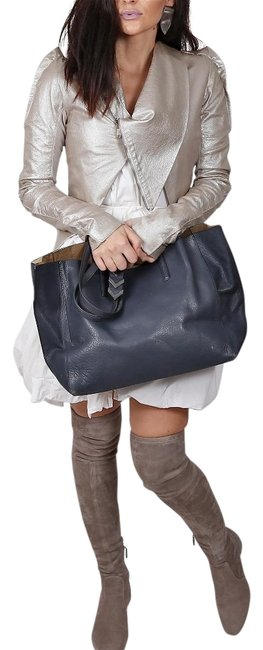 Mackage Bag Aggie Navy Blue Leather Tote Mackage Bag Aggie Navy Blue Leather Tote Image 1