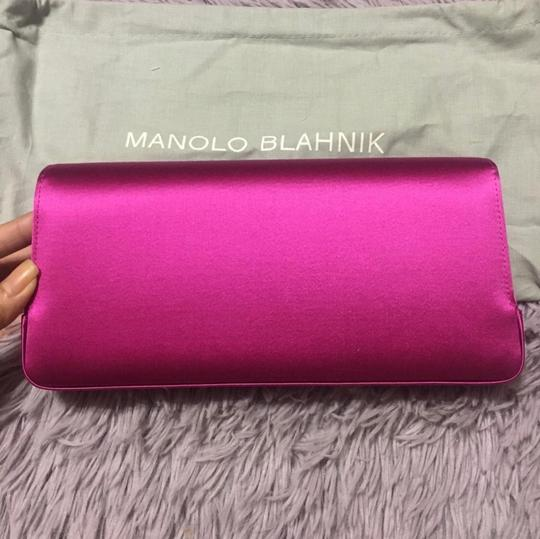 Manolo Blahnik Evening Crystals Satin Pink Clutch