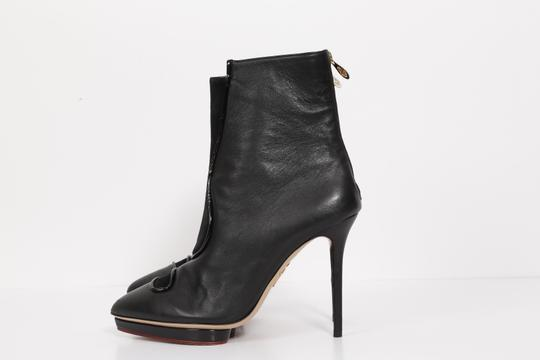 Charlotte Olympia Suede Leather Black Boots