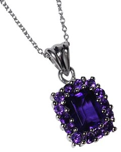 NY Collection 925 Sterling Natural Purple Amethyst Cluster Halo Pendant Womens Drop