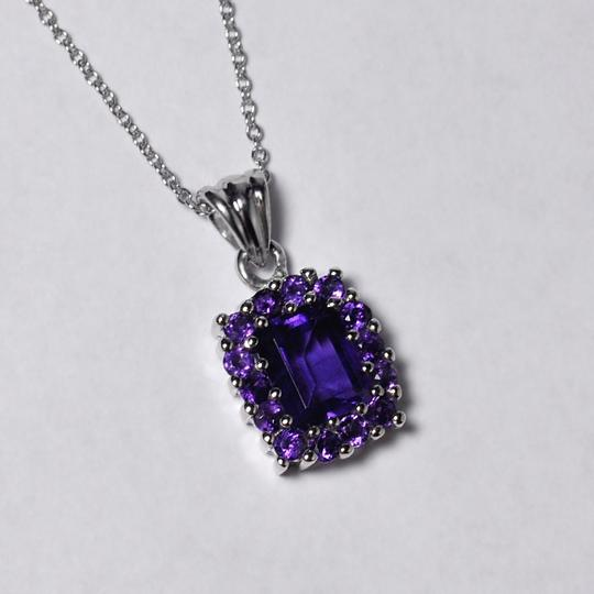 NY Collection 925 Sterling Natural Purple Amethyst Cluster Halo Pendant Womens Drop Image 1