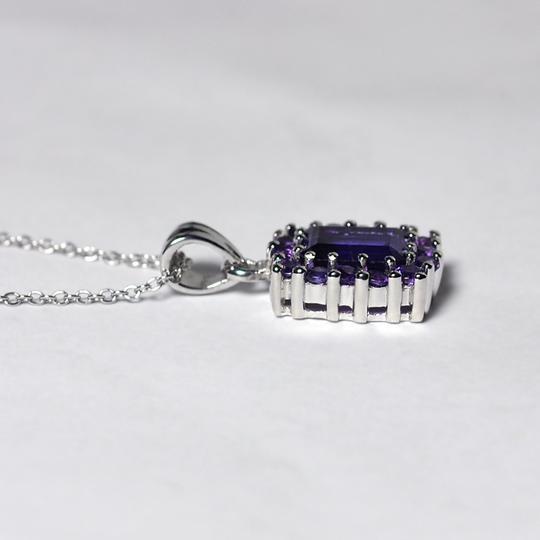 NY Collection 925 Sterling Natural Purple Amethyst Cluster Halo Pendant Womens Drop Image 2