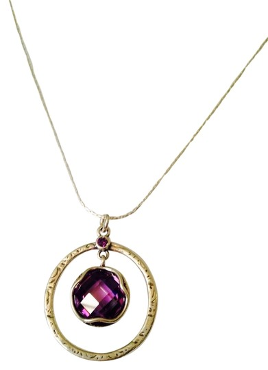 JS Collections NWOT Faceted Checkerboard Cut Amethyst Gemstone In Sterling Silver Necklace
